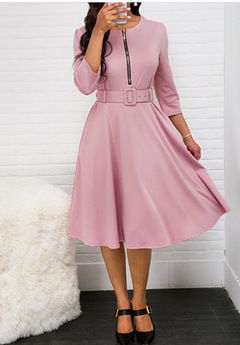 Fashion Elegant A-Line Party Dress Women Zipper Up Belted Pleated Casual Dress xl pink