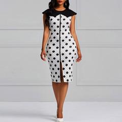 Women's dress zipper dot print elegant summer sleveeless lady work dresses m white