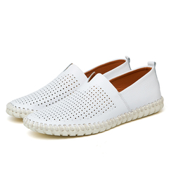 Big Size 39-47 Leather Mens Shoes Summer Breathe Luxury Driving Shoes Slip on Casual Male Loafers white(hollow) 40