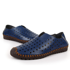 Handmade Summer Shoes Men Soft Comfortable Male Slip On Breathable Hole Leather Loafers Shoes blue 39