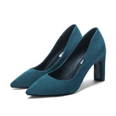 Plus Size Woman Pointed Toe Pumps High Heels Shoes Female Ladies Office Shoes blue 40