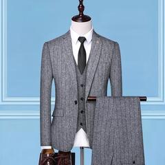 Mens 3 Pieces Set Blazers Pants Vest Business Formal Suit Set Men's Suits Trousers Waistcoat grey m