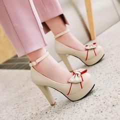 Women Sweet Bow Tie Pumps Shoes Platform High Heels Party Shoes beige 36