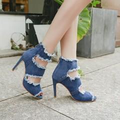 Summer Ladies Pumps Fashion Denim High Heels Women's Shoes Party Fish Mouth Sandals blue 35