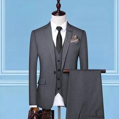 Men Suis Slim Fit Business Formal Party Work Blazer Suit 3 Psc Set (Jacket+Pants+Vest) Grey m