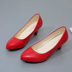 Women Shoes Office Lady Work Shoes Shallow Mouth Ladies Wedding Party  Shoes Woman red 35