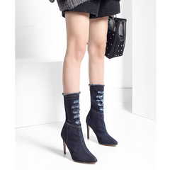 Autumn Winter Denim Boots Women Shoes Woman Pointed Toe Fashion Thin High Heels Ladies Shoes deep blue 36