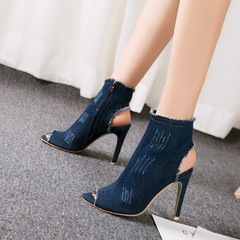 High Heels Denim Sandals Women Shoes Peep Toe Woman Jean Sexy Lady Sandals Boot dark blue 35