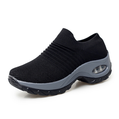Women summer sneakers running shoes ladies platform breathable mesh sock outdoor walking shoes black 35