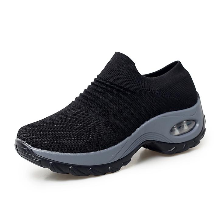 Women summer sneakers running shoes ladies platform breathable mesh sock outdoor walking shoes black 38