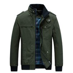 Jacket Men Cotton Business Casual Jacket Coat  Outwear green m