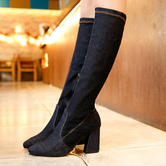 Women Denim Boots Sexy High Heels Shoes Autumn Winter Thick Heel Women Boots deep blue 35