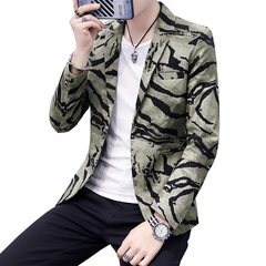 Mens Casual Jacket Coat Blazer Men Slim Fit Camouflage Party Thin Blazers Outerwear light green m