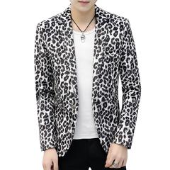 Fashion Print Leopard Leisure Blazer Coat Male Slim Thin Stage Blazers Suit Outerwear white m
