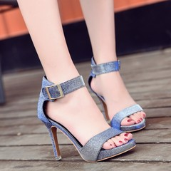 Women Sandals Fashion Buckle Strap Summer High Heels Women Shoes silver 35