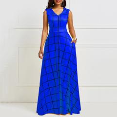 Women sleeveless plaid party dress elegant pocket notched lapel long maxi dress m blue