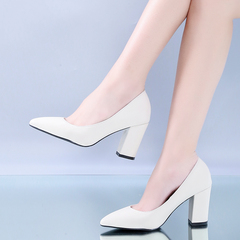 Women Pumps High heels 7.5cm Lady Pointed Single Work Office Shoes Female white 35