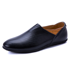 Men Business Casual Shoes Luxury Cow Leather Men Loafers Moccasins Slip on Driving Shoes black 39