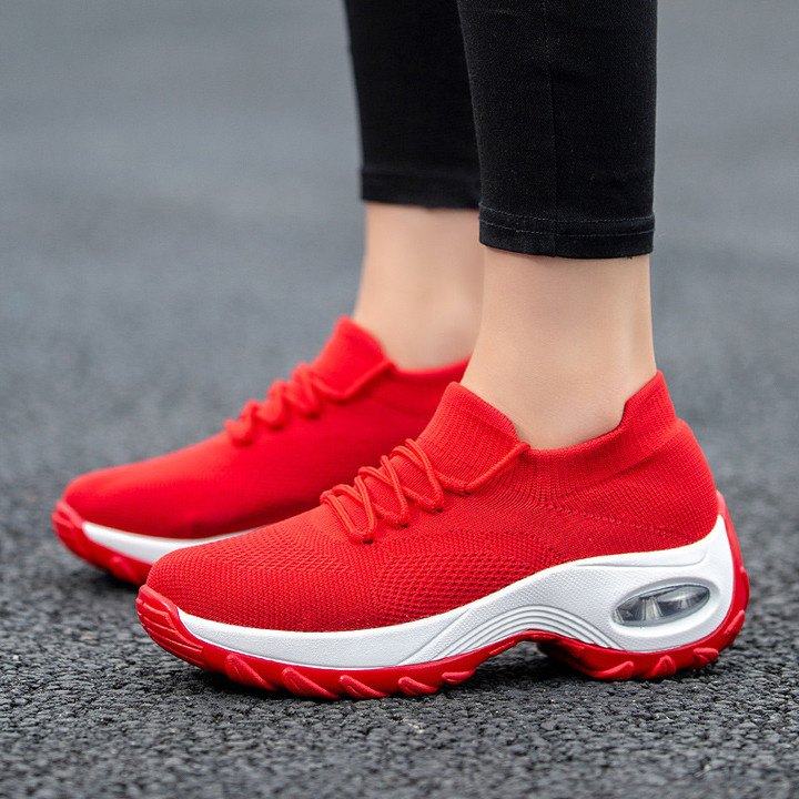 Women Sneakers Ladies Wedges Running Outdoor Walking Sport Shoes Height Increasing Women Shoes red 37