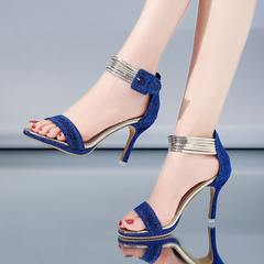 Women Pumps Thin Heels Wedding Party Shoes High Heels Sandals Ladies Shoes blue 38
