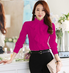 New Women Blouses Shirt Ruffles Elegant Long Sleeve Stand Collar OL Lady Chiffon Blouse rose red s