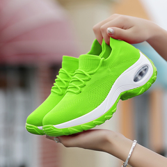 Women Sneakers Ladies Wedges Running Outdoor Walking Sport Shoes Height Increasing Women Shoes green 37