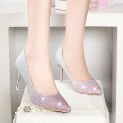 Women Pumps Shoes Pointed Toe High Heels Women Shoes pink 35