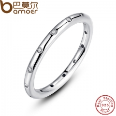 BAMOER 925 Sterling Silver Droplets Stackable Finger Classic Ring for Women Wedding Fine Jewelry picture color 6