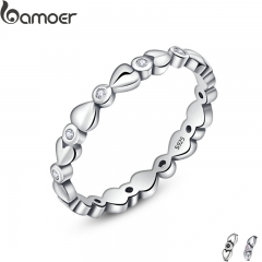 BAMOER 925 Sterling Silver Classic Forever Love Heart Finger Rings for Women, Zircon Engagement SCR043 6