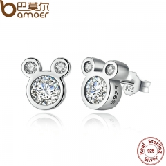 BAMOER  925 Sterling Silver Dazzling Miky Mouse Stud Earrings for Women & Girls Sterling-Silver-Jew picture color one size