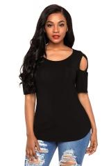 Sexy cross strapless short-sleeved round neck Slim women's T-shirt lady fashion female women black m