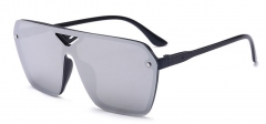 Fashion Colorful Hollow Reflective Siamese Sunglasses Sports Riding Lens Female Male Women Men black frame-mercury one size