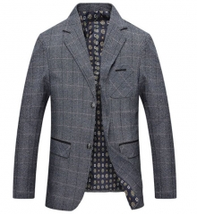 Spring and autumn men's suit men's plaid suit jacket coat casual suit grey m