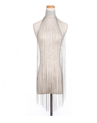 Diamond Tassel Necklace Rhinestone Cloak Personality Accessories fashion beach body bikini chain silver one size