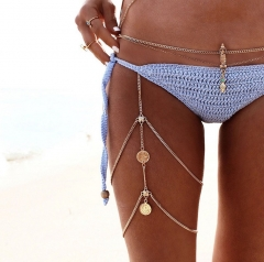 Vintage Sexy Coin tassel Multi-layer chain leg chain beach bikini body chain fashion golden one size