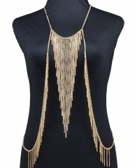 Fashion body chain punk metal tassel body chain beach fashion bikini chain golden one size