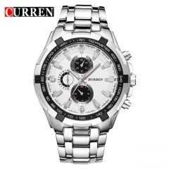 CURREN crane 8023 men watch leisure business waterproof quartz steel band wrist watch silver white one size