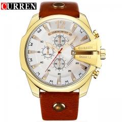 CURREN calion 8176 men's watch calendar belt sports men's waterproof quartz watch gold white one size