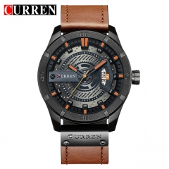 Curren/ Karyn 8301 quartz watch calendar, men's watch waterproof business belt men's Watch black brown one size