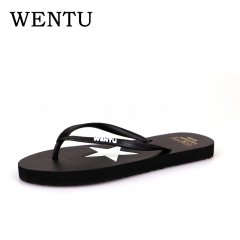 WENTU  New Women Flip Flops Shoes Beach Flat Sandals Slippers With Lovely Pink Color black 6