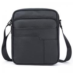 men bag genuine leather crossbody messenger bags men's shoulder men bag flap zipper 7603A4black one size
