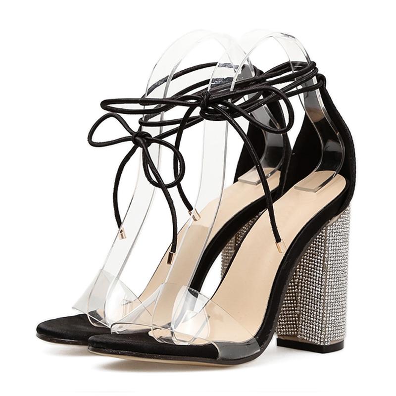 1b0174567356 Women Sandals Women Open Toe Lace Up Clear Transparent High Heels Sandals  Fashion black 5  Product No  1406585. Item specifics  Brand