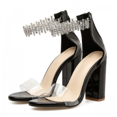 Fashion Women Sandals  Hot Women Peep Toe Hoof Heels Sapatos Women Rhinestone Clear PVC black 5
