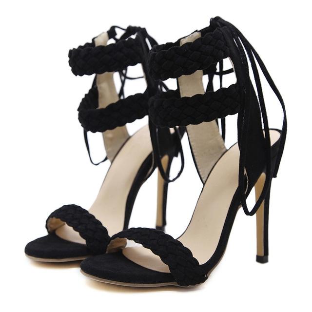 da93e70145d Women High Heels Pumps Fashion Peep Toe Ankle Strap Up Cross Tied Weave  High Heels Pumps black 7  Product No  1408306. Item specifics  Brand