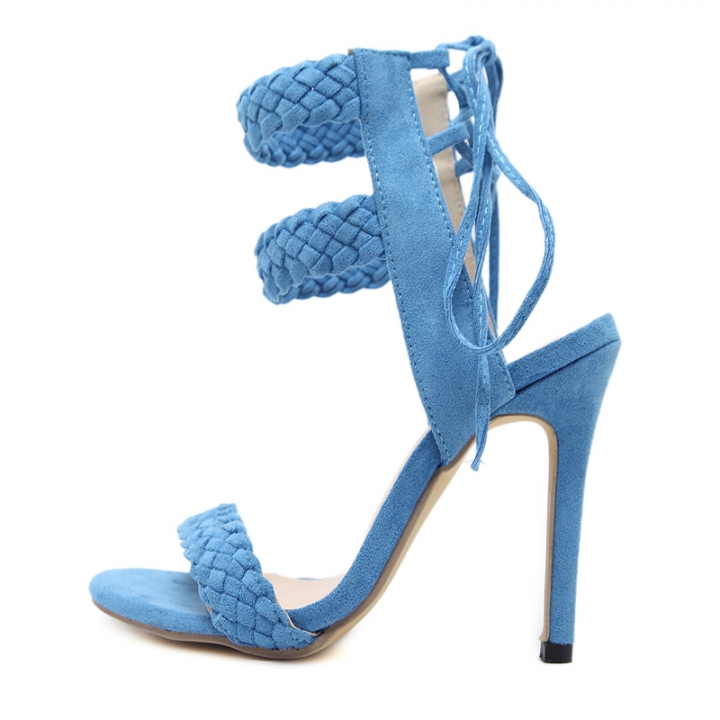1b054719be96 Women High Heels Pumps Fashion Peep Toe Ankle Strap Up Cross Tied Weave  High Heels Pumps