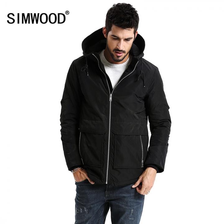 69521d8f732 SIMWOOD New 2018 Spring Winter Men Outerwear Plus Size Polyester Thin Fashion  Jacket Men black s