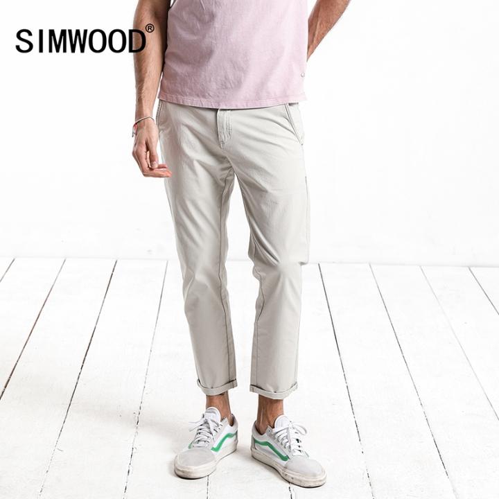 fc878e956024e SIMWOOD 2018 New Summer Autumn Casual Pants Men Fashion Trousers Brand  Clothing Slim Fit apricot 28