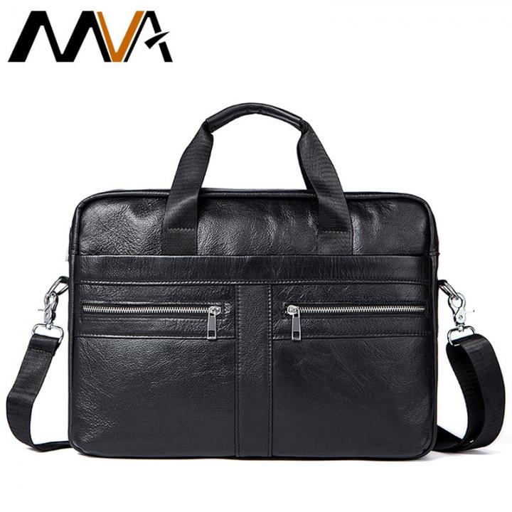 d44c4ed143 MVA Leather Laptop Bag 14inch Genuine Leather Men Bags Briefcases Handbag  Totes Crosssbody Messenger black 39