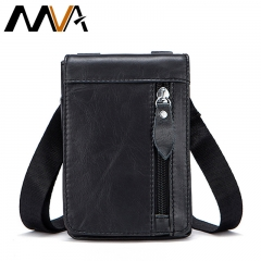 MVA Genuine Leather Waist Packs Fanny Pack Belt Bag Phone Pouch Bags Travel Waist Pack Male Small black 11.5*2.5*16cm