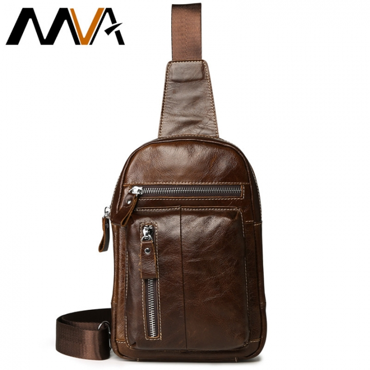 28040140f95a MVA Genuine Leather Men Leather Chest Bag Men Bag Vintage Crossbody Bag for  Man Shoulder Bags